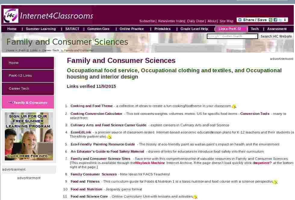 Vocational education classroom resources family and