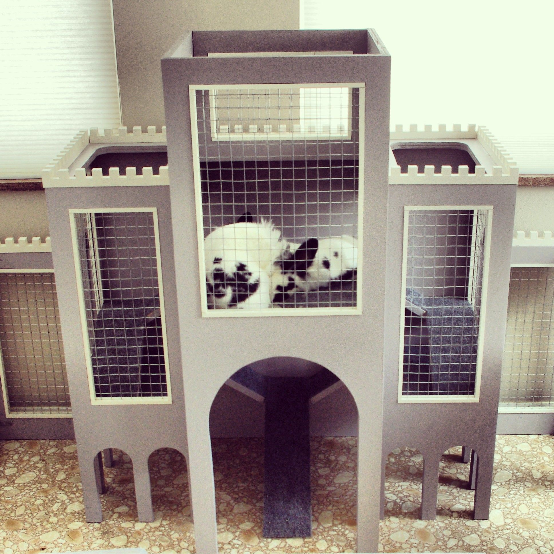 Three level bunny castle bunny home craft thingy for Design indoor rabbit cages