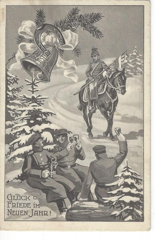 CHRISTMAS WW1 PATRIOTIC GERMAN SOLDIERS CELEBRATING NEW