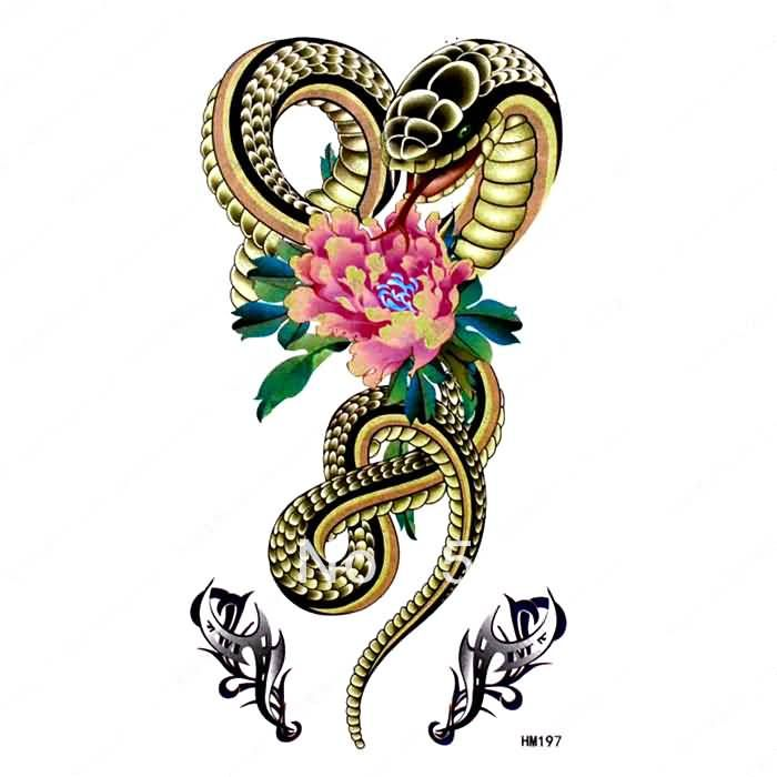 Unique floral tattoo unique snake with flower tattoo design king horse flower and snake temporary tattoo sticker be sure to check out this awesome product fandeluxe Epub