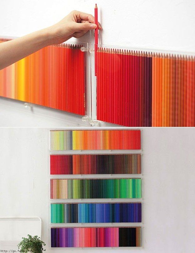 We start with this dream come true…a wall of pencils nicely arranged by color. | 16 Pictures That Are Practically Porn For Color Lovers