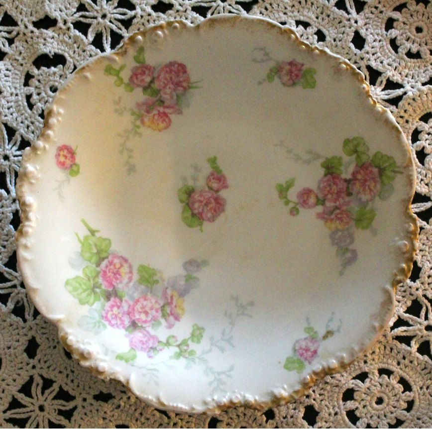 JP Limoge 9 3/4 '' Beautiful Plate with Pink Flowers by NancysAccessories on Etsy