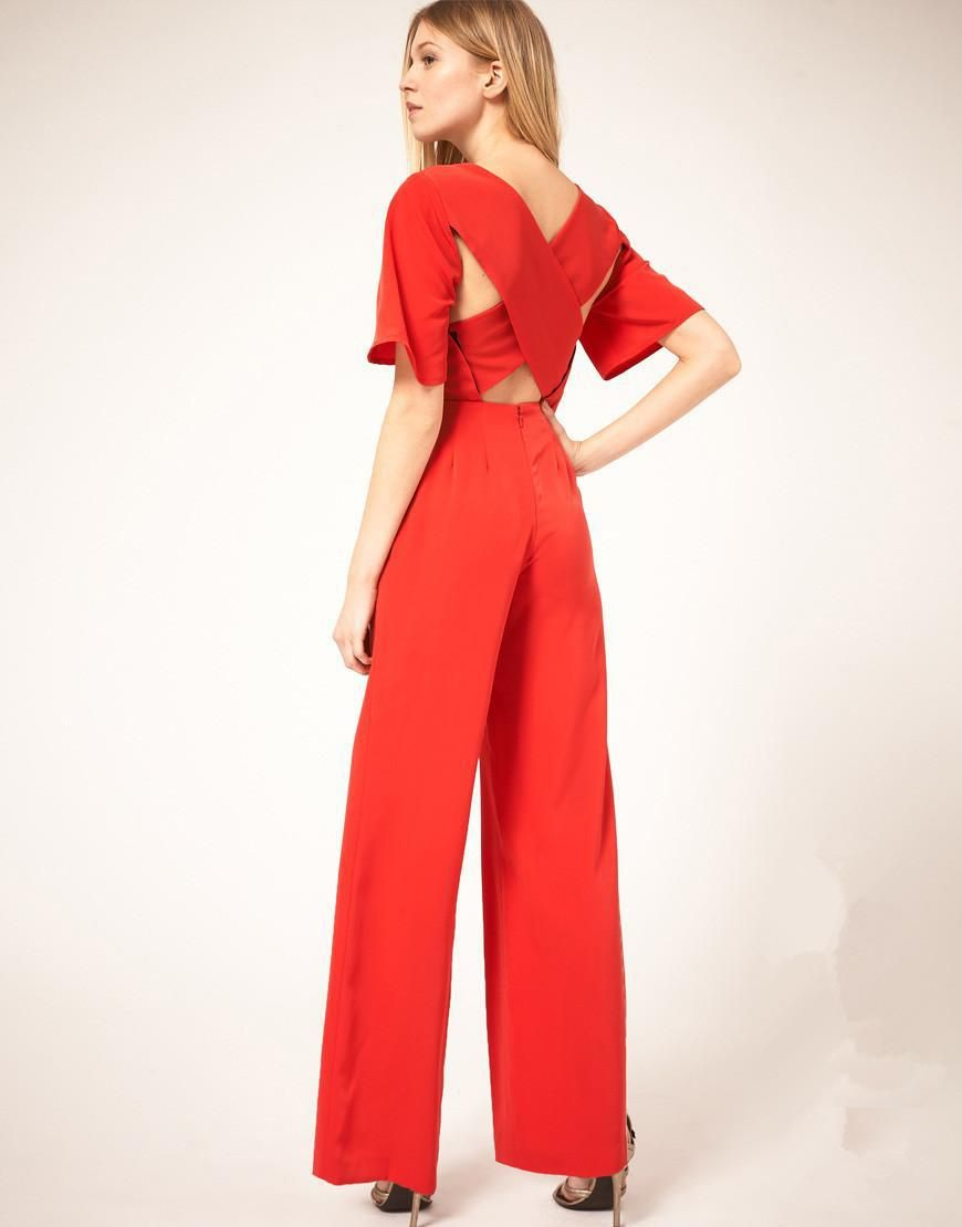 High waist beautiful red jumpsuit - love the back | Sophisticated ...