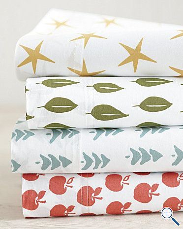 New percale sheets from GarHill. The apples and stars would be