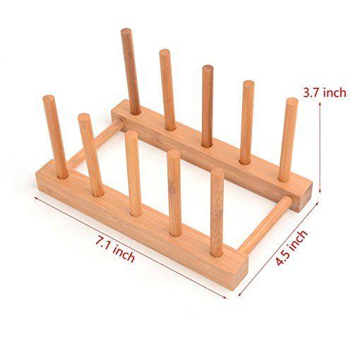 Irctek Phyllostachys Pubescens Bamboo Plate Cup Pot Lid Storage Rack Detearing Holder detachable (1)