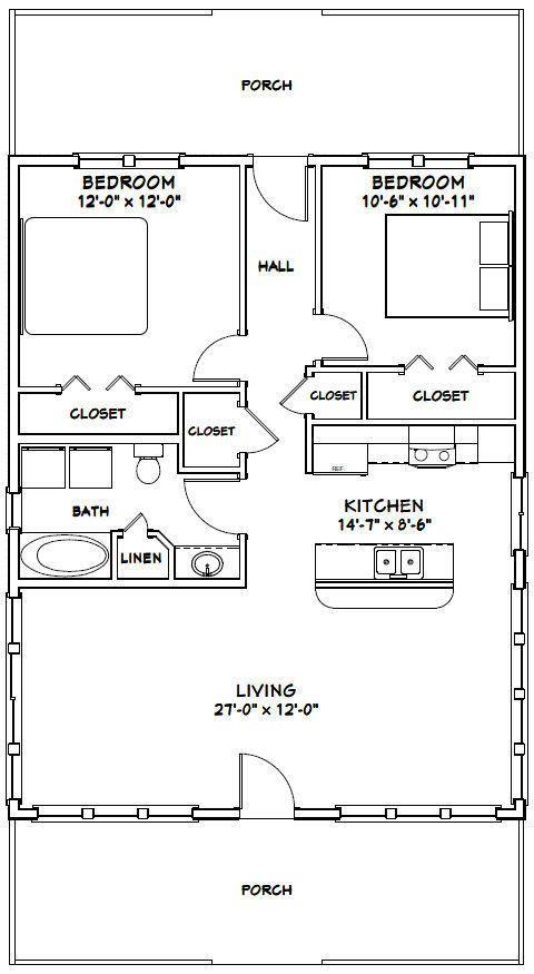 28x36 House -- 2 Bedroom 1 Bath -- 1,008 sq ft -- PDF ...