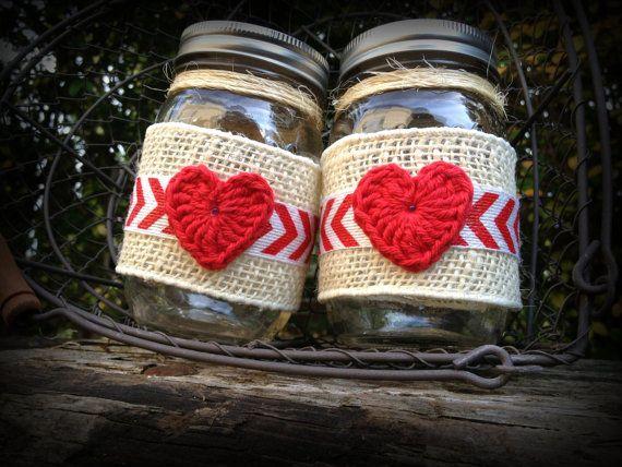 Valentine mason jars, heart mason jars, Decorated mason jars, love mason jars, mason jar decor, home decor, rustic wedding, wedding jars