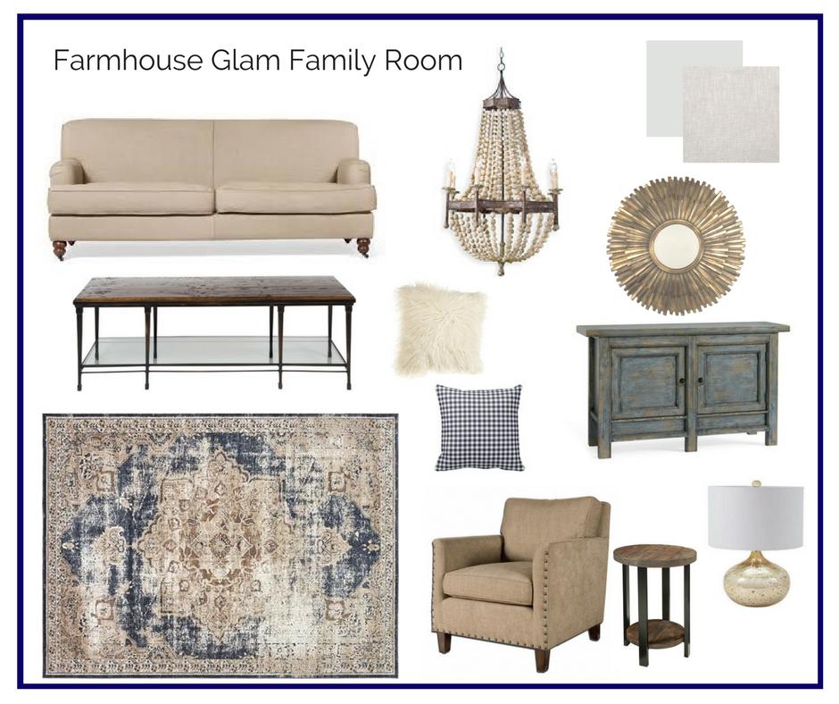 Room In A Box Farmhouse Glam Family Room Elegant Living Room