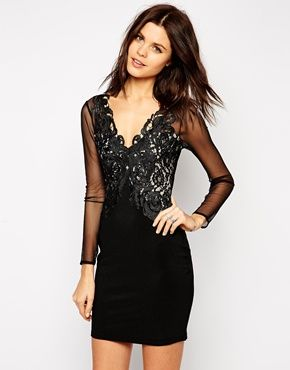 d1438096e5b Michelle Keegan Loves Lipsy Lace Applique Bodycon Dress With Mesh Detail -  Black