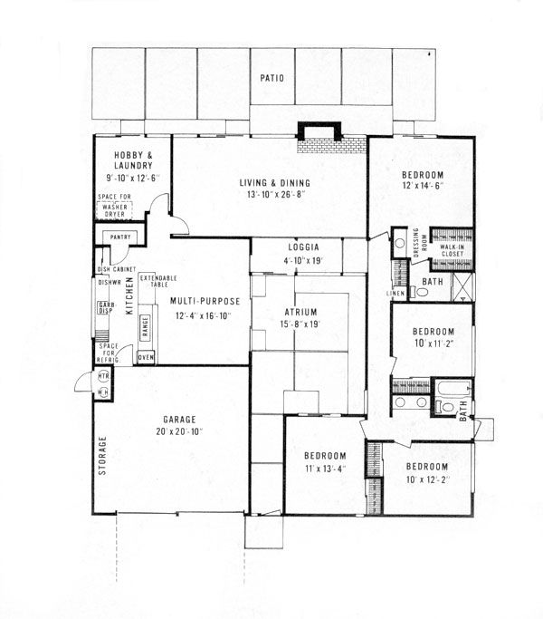 Eichler style house plans house design plans for Atrium home plans