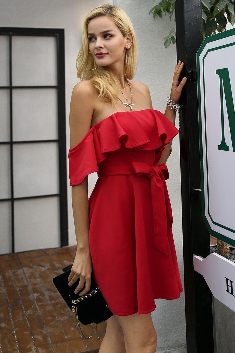 05629b054e114 Simplee Off shoulder ruffle red women dress Sexy strapless waist belt loose  dress vestidos Autumn night female party club dress – PasangSurut