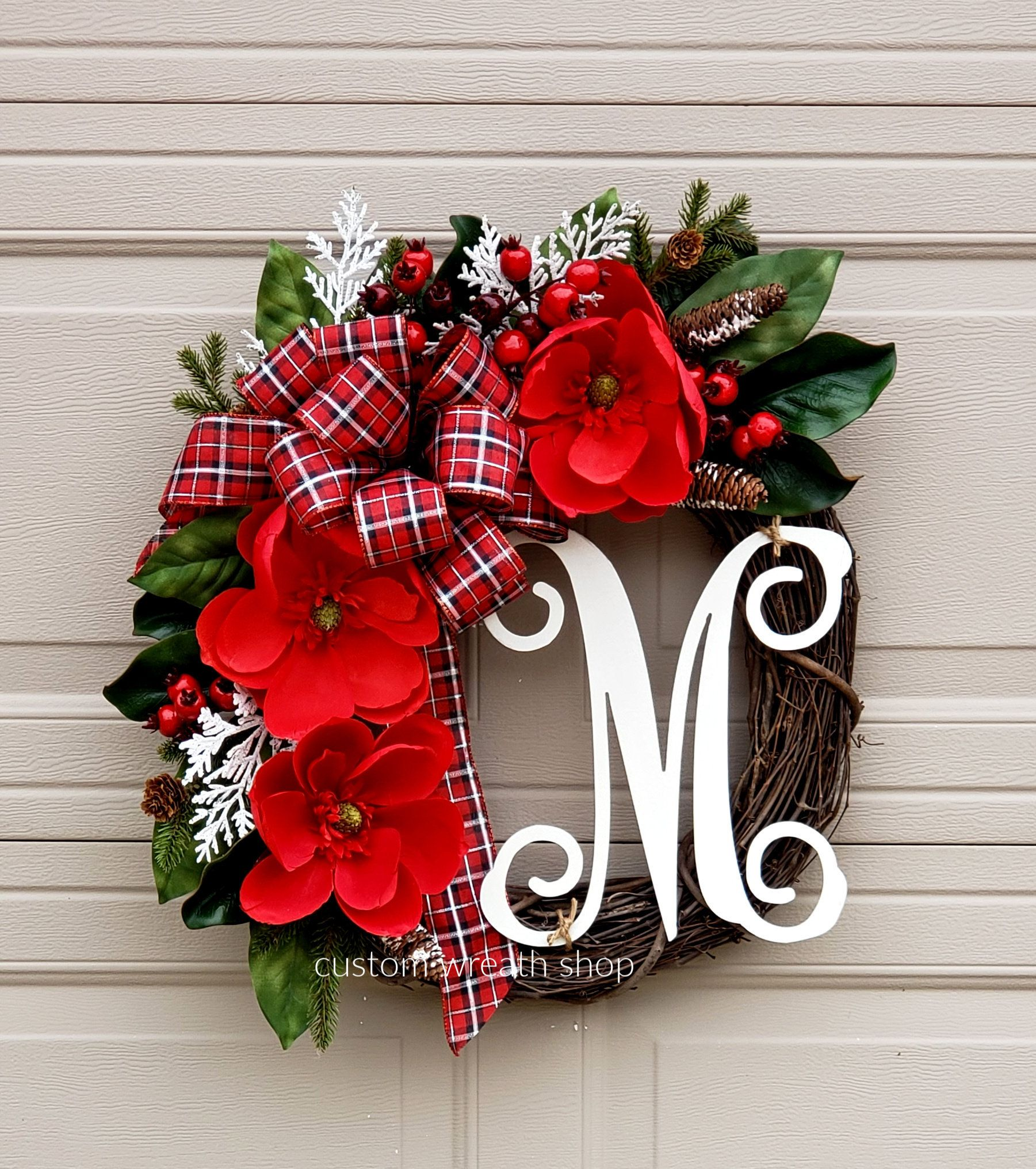 Photo of READ TO SHIP Christmas Wreath, Red Magnolia Wreath, Wreaths for Winter, Buffalo Plaid Wreath, Holiday Decor for Door, Berries Wreath