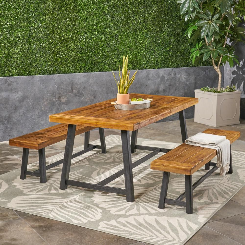 Noble House Raphael Teak Brown And Black 3 Piece Wood Outdoor Dining Set Outdoor Dining Set Outdoor Dining Dining Set