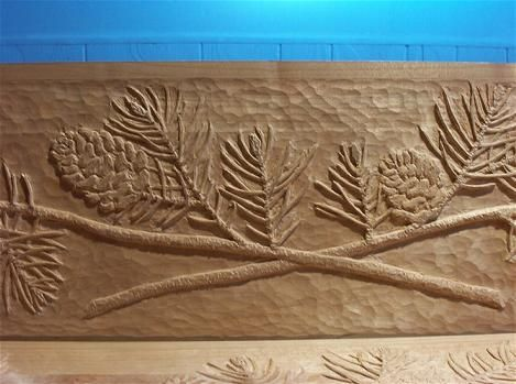 Pinecone Relief Carving Wildlife Wood Carvings Wood