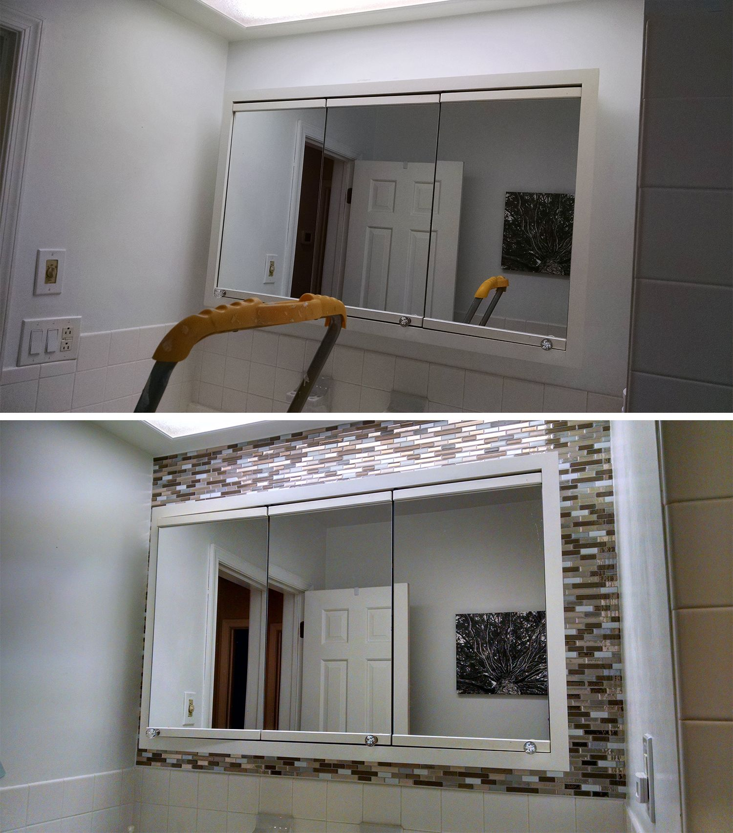 Muretto Durango Peel And Stick Tile Before And After Around Bath Vanity Smart Tiles Mosaic Decor Mosaic Wall Tiles