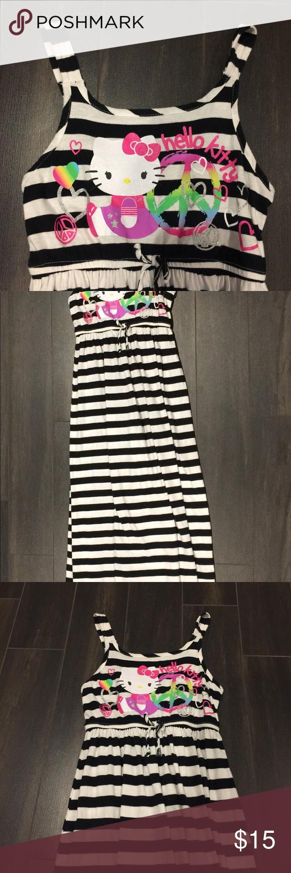b9ebaf443 Hello Kitty Stripped Maxi Dress 7/8 Hello Kitty Maxi Dress Black and White  Stripped 7/8 Hello Kitty Dresses Casual