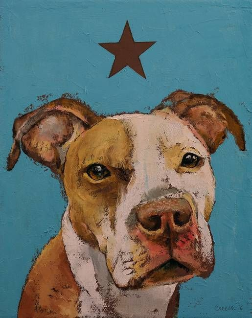 """""""American Pit Bull"""" by Michael Creese.  Discover more animal art at www.imagekind.com!"""