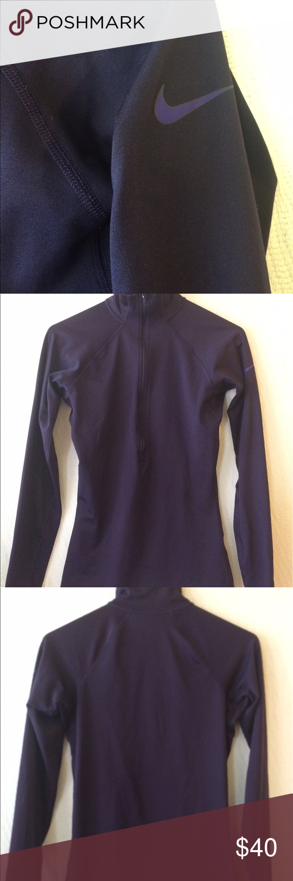 "Nike Pro Hyperwarm Half Zip Women's Running Shirt Nike Pro Hyperwarm Half-Zip women's Running Shirt.  Size  small; 15.5"" width, 25"" length. 88% polyester, 12% spandex.  Very good used condition.  Very pretty deep purple color, thumb holes at cuffs, Nike symbol has no cracking. Nike Tops Sweatshirts & Hoodies"