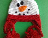 Snowman Crochet Hat, Ear Flap Hat,  Newborn Hat, Baby Hat, Crochet Hat,Girls Hat ,Ready to Ship
