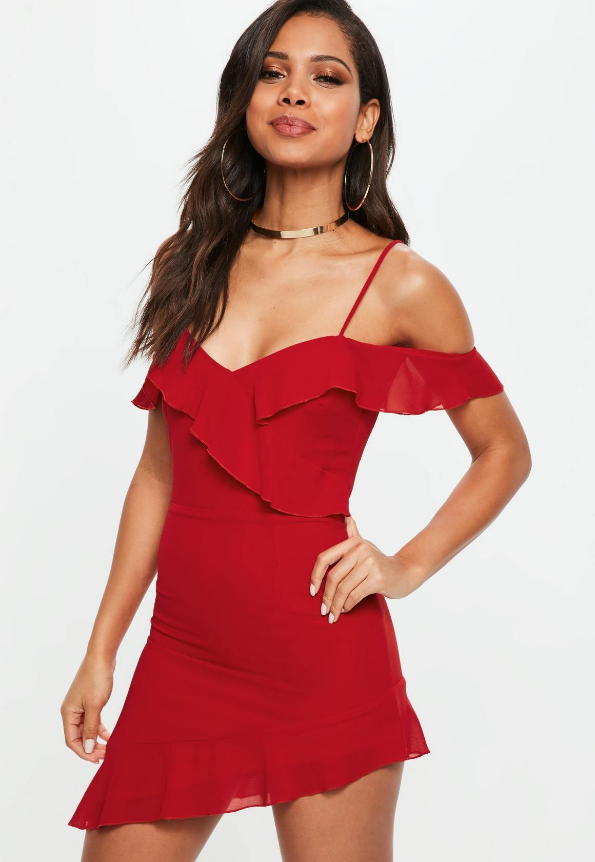 Asymétrique Rouge Robe VolantsDresses Missguided À nwONv8my0