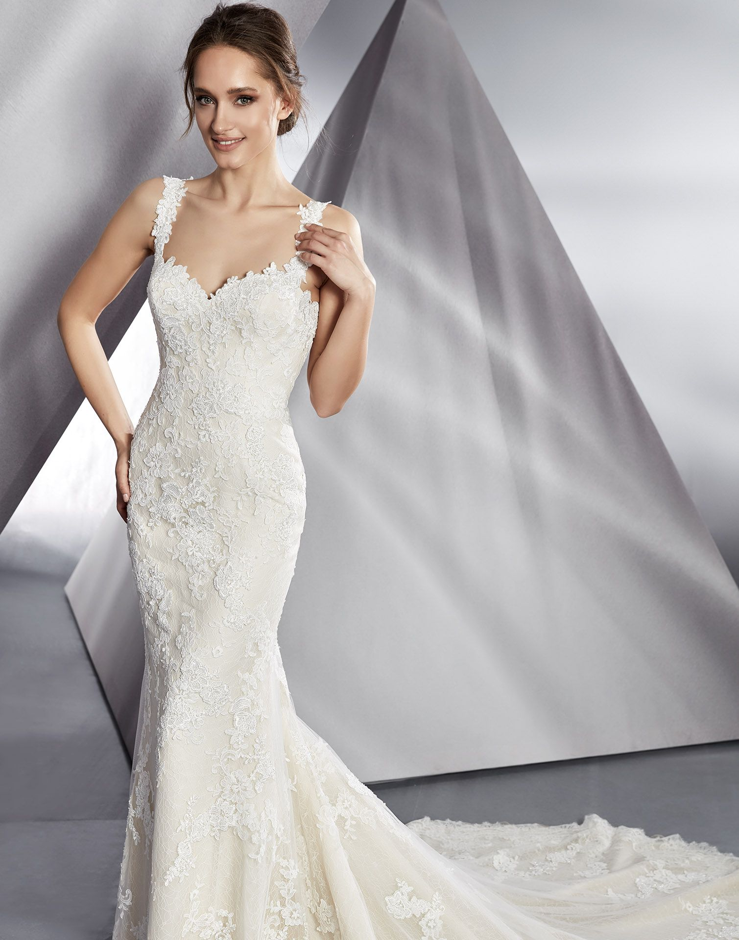 BEAUTIFUL // A full and luxurious sleek lace wedding dress with an ...