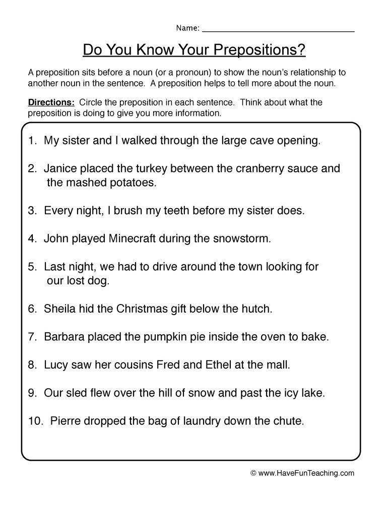 Find Prepositions Worksheet Preposition Worksheets Preposition Worksheets Middle School Middle School Math Worksheets Prepositional phrases worksheets middle