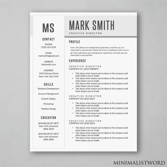 Resume Word Template Amusing Simple Modern Resume Template With Creative Design #resume Review
