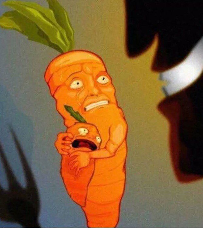 Look at this poor carrot trying to protect its family from the incomprehensible savagery of vegans… http://ibeebz.com