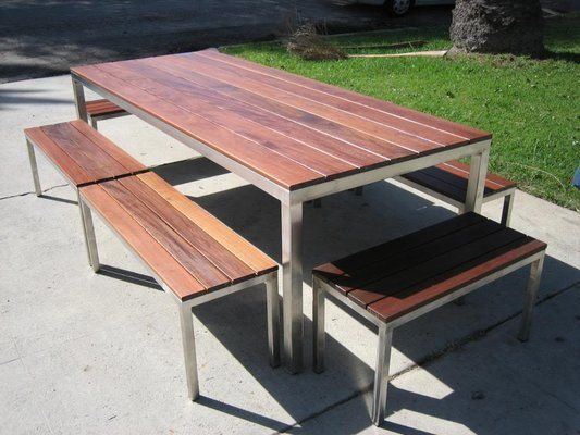 Stainless Steel Outdoor Table With Ipe Wood Top 6 Benches Table