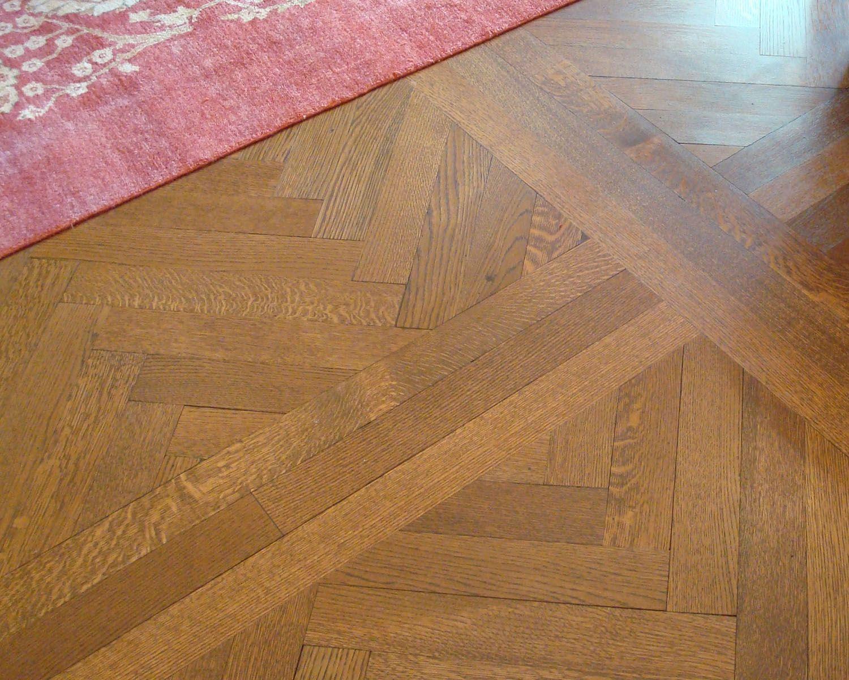 Quarter Sawn White Oak Herringbone Floor Set Into White Oak Frames Www Thewoodco Com Wood Parquet Flooring Wood Plank Flooring Wide Plank Flooring