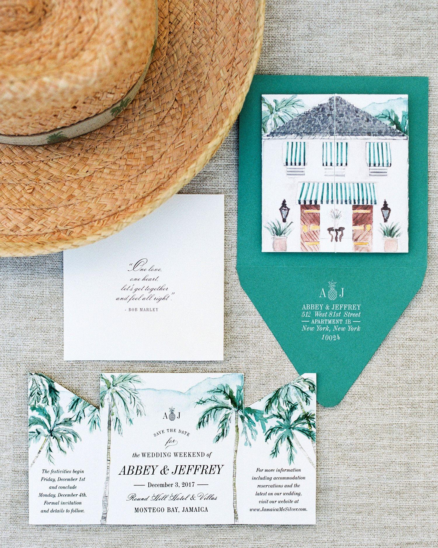 Palm Prints And Stripes Set The Tone For This Couple S Destination Wedding In Jamaica Wedding Saving Tropical Wedding Wedding