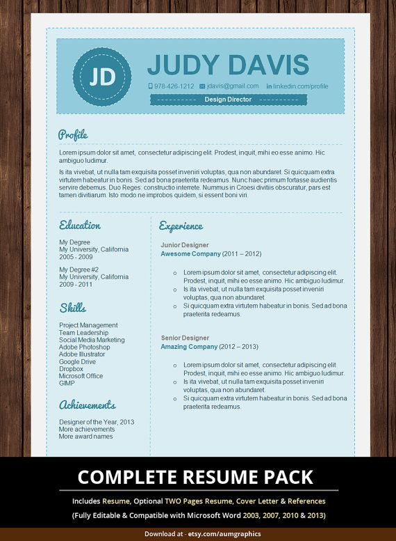 Resume Template \/ Creative Resume Template for Microsoft Word \/ CV - microsoft word references template