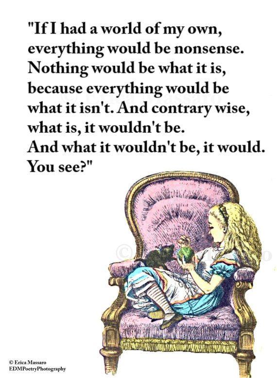 If I Had A World Of My Own- | Alice in Wonderland | Vintage Art Illustration | Erica Massaro, EDMPoetryPhotography on Etsy.