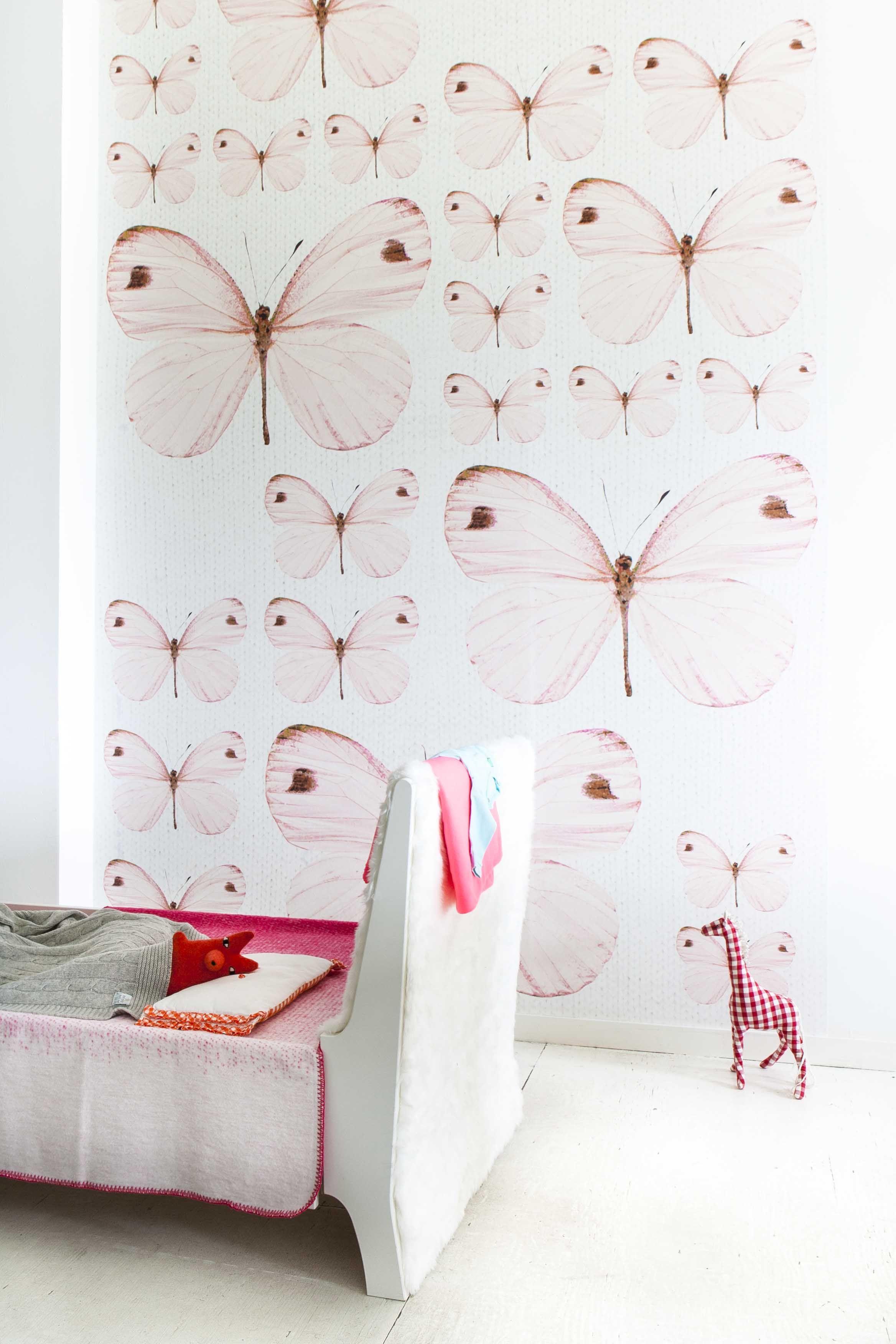 Behang Kinderkamer Roze.Butterflies On The Walls Inspiratie Behang Kinderkamer