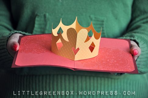 A Royal Crown Pop Up Card Pop Up Card Templates Pop Up Cards Hearts Paper Crafts