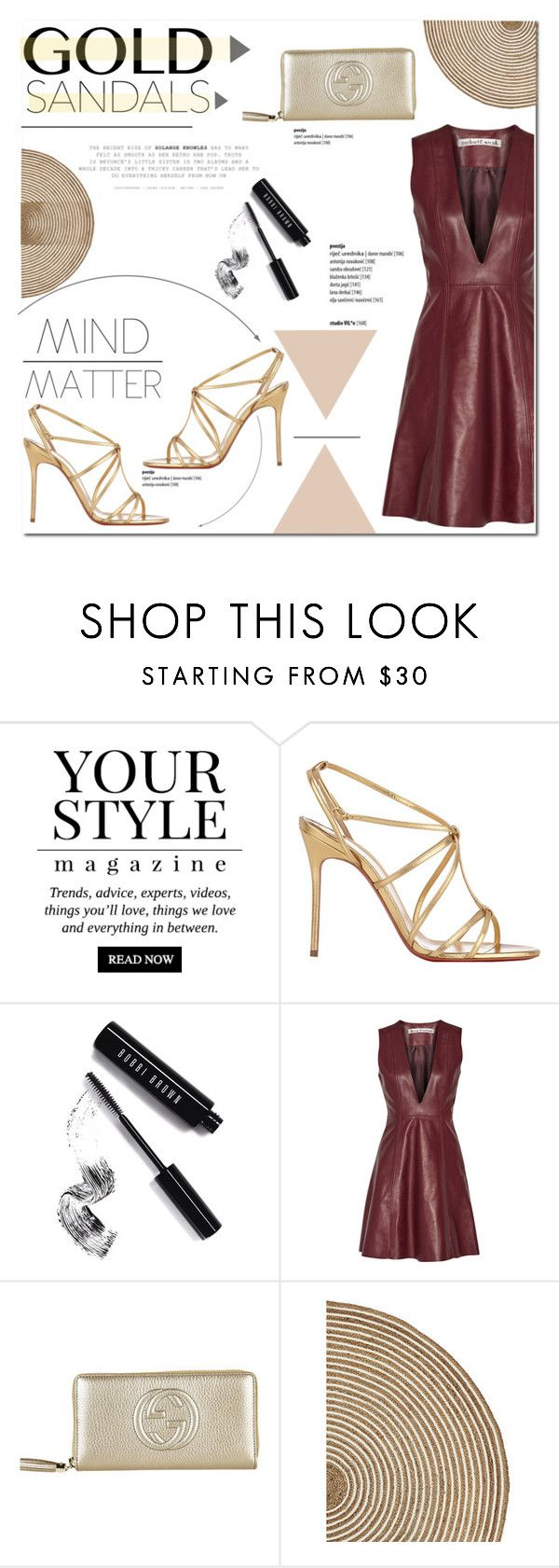 """""""GOLD SANDALS <3"""" by aryana-280 ❤ liked on Polyvore featuring Pussycat, Christian Louboutin, Bobbi Brown Cosmetics, Børn, Acne Studios, Gucci, Serena & Lily and goldsandals"""