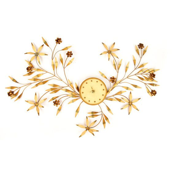 Vintage 1960\'s Hollywood Regency Massive Gold Metal Flower Wall Art ...