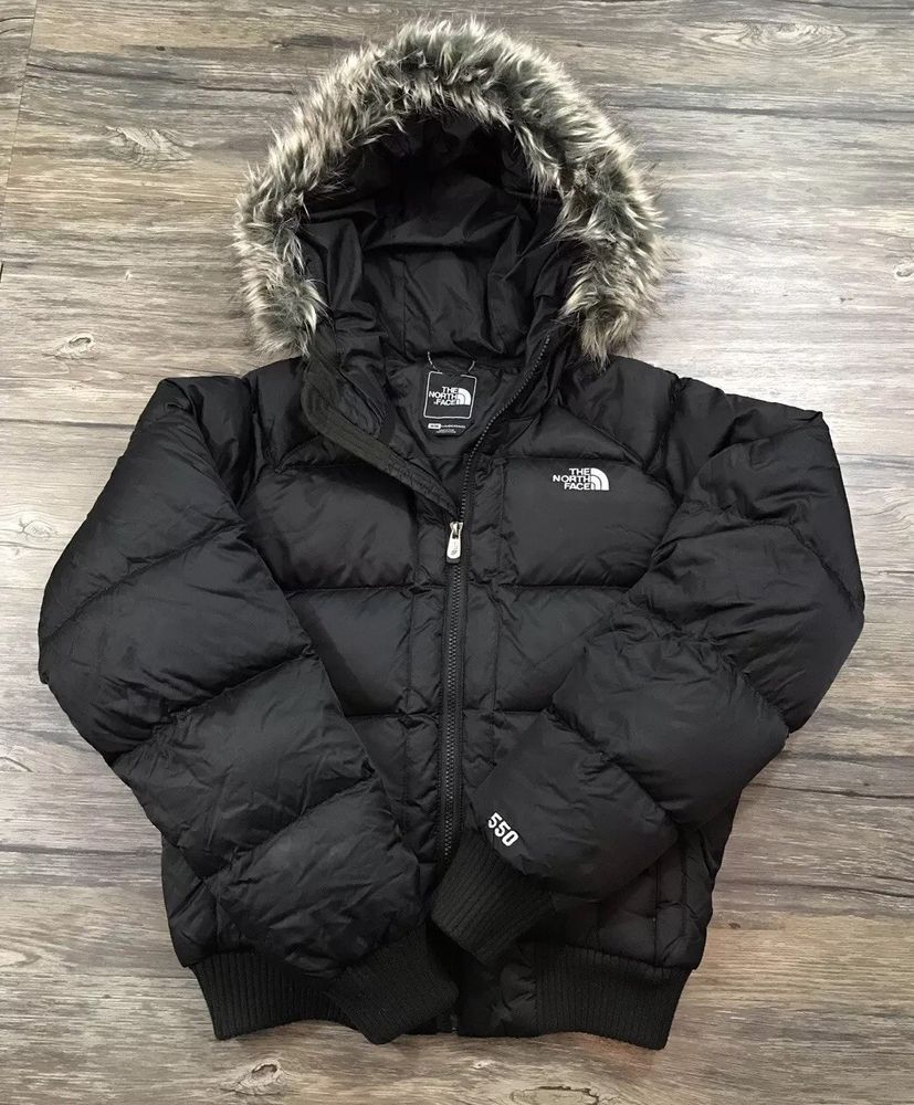 ca434f42f The North Face 550 Goose Down Faux Fur Hooded Coat Womens Sz M in ...