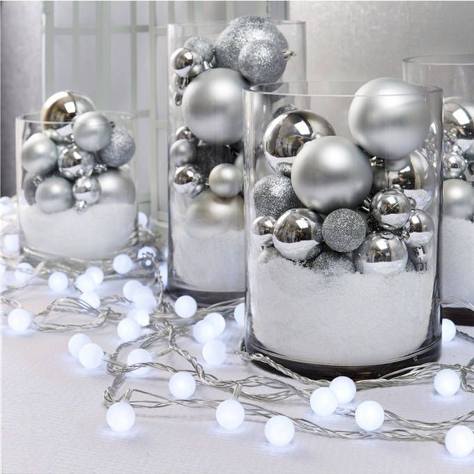 Frosted Cool White Mini Globe Battery String Lights with Timer, Strand of 100 #xmasdecorations