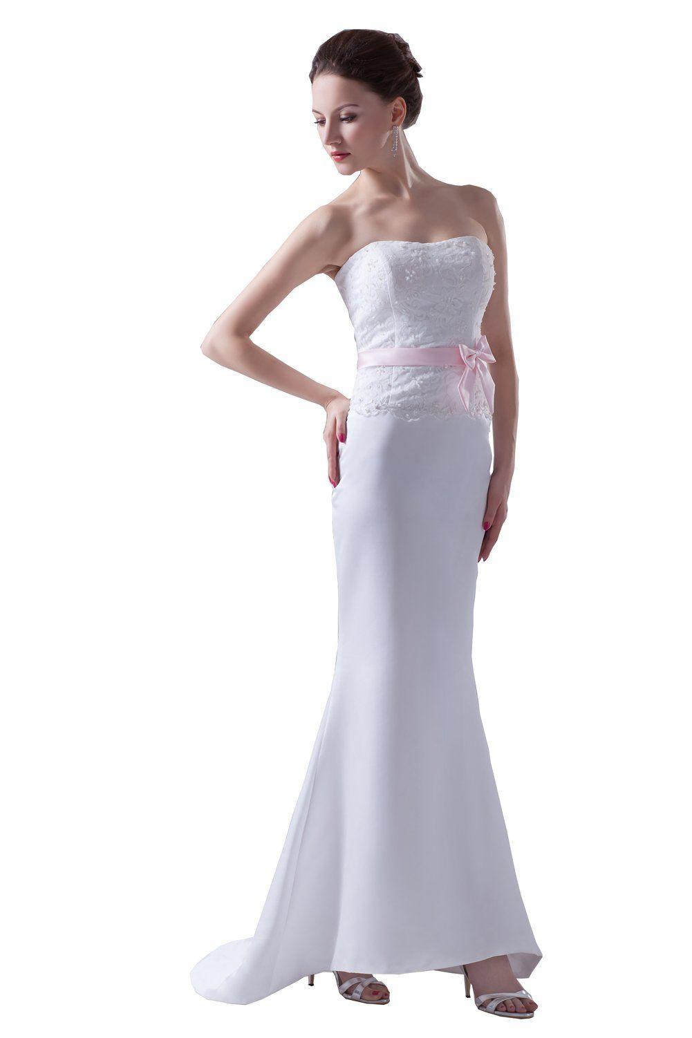 Desimpler womenus strapless lace satin mermaid bridal gown long