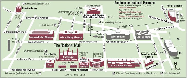 Map Of National Mall Smithsonian Museums On Or Near The National