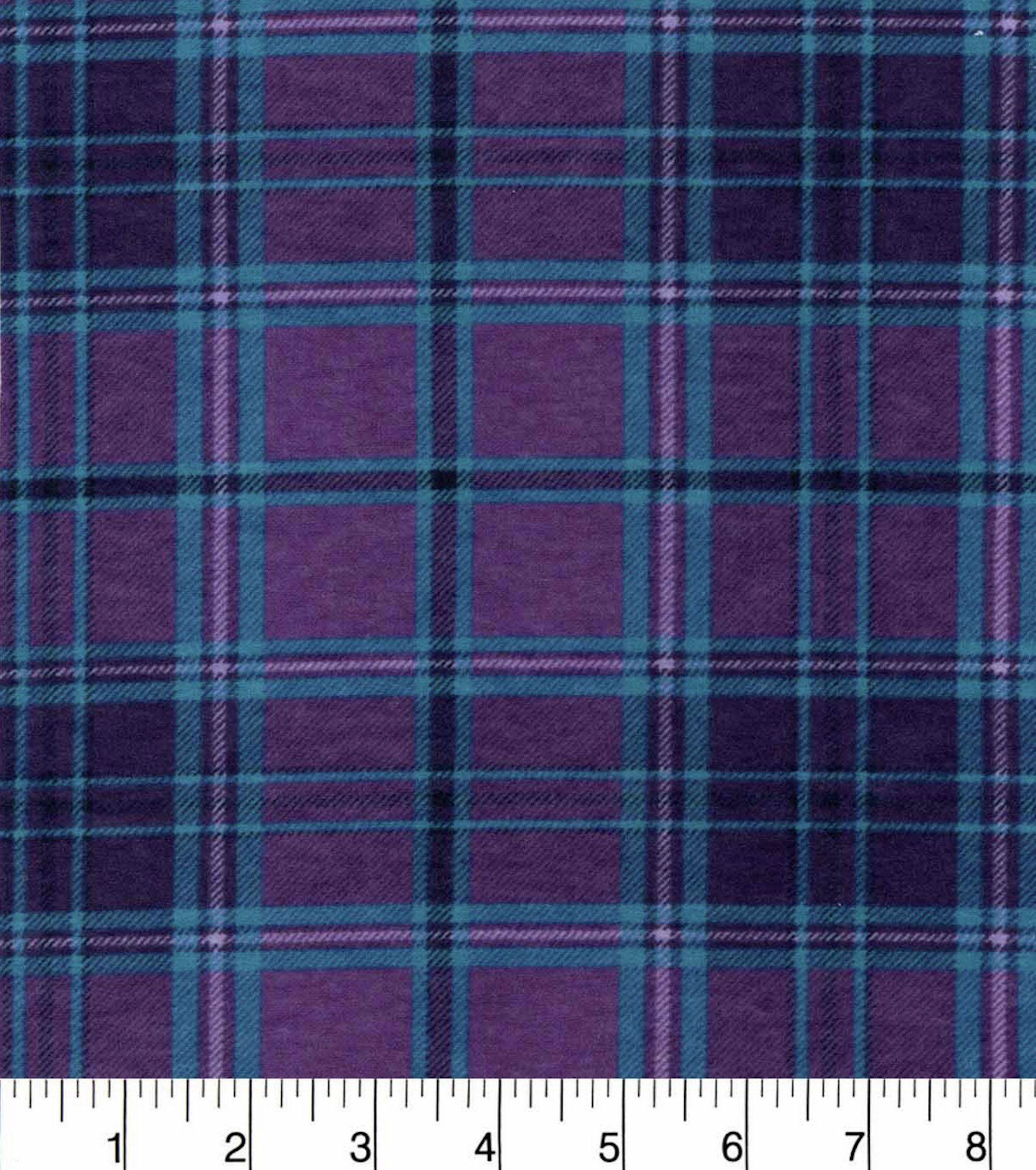 Purple Aqua Plaid Fabric By The Yard 100 Cotton Flannel Fabric Only Plaid Fabric Flannel Fabric Weighted Blanket