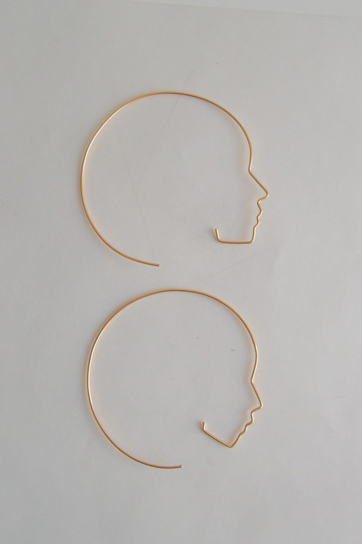 Modern Shape Hoop Earrings in Rose Gold Fill
