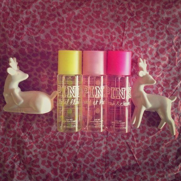 PINK Victoria's Secret Body Mists ( set of 3 ) PINK Victoria's Secret Body Mists ( set of 3 ) • Fresh & Clean ( 75 ml / 2.5 fl oz ) • Wild at Heart ( 75 ml / 2.5 fl oz ) • Total Flirt ( 75 ml / 2.5 fl oz) PINK Victoria's Secret Other