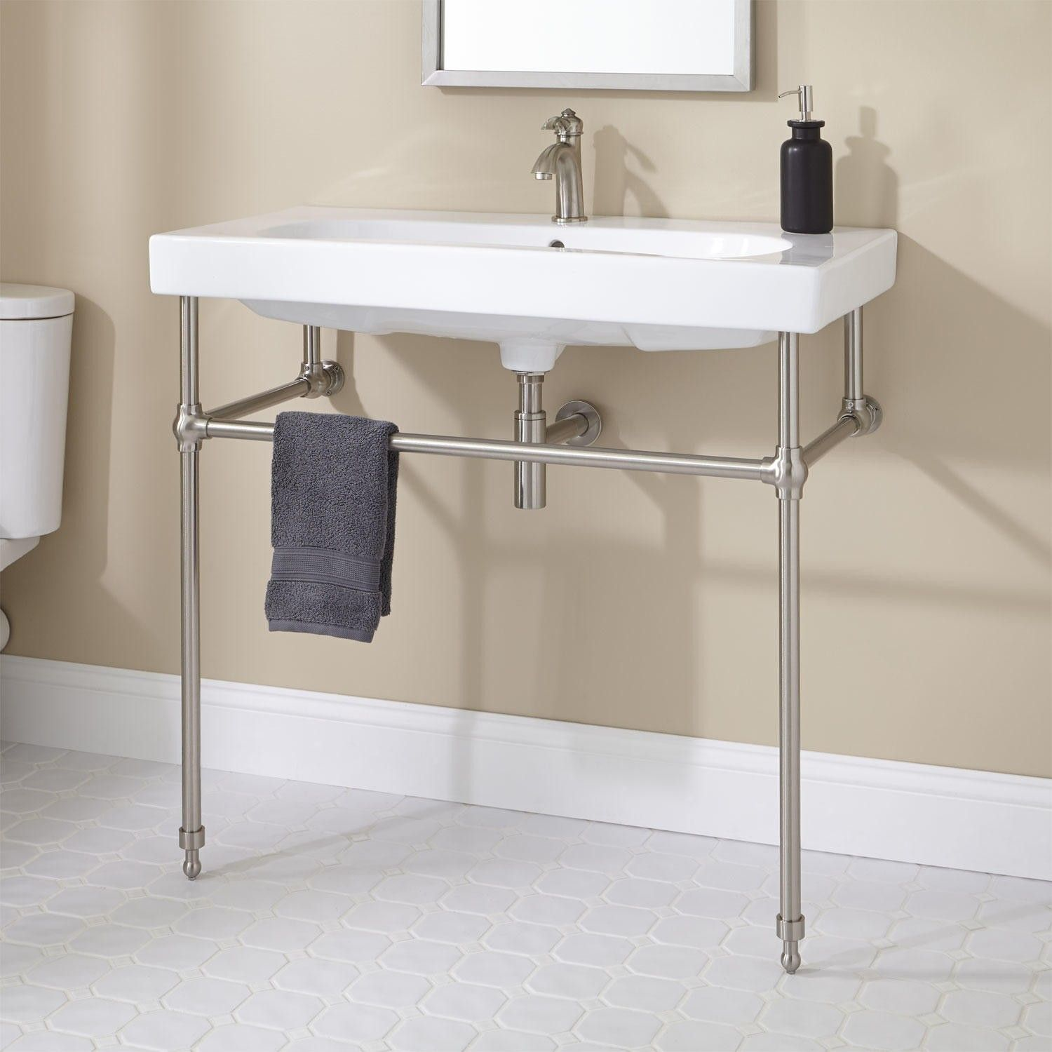 Console Sink For Unique Free Standing Sink Design Ideas Single