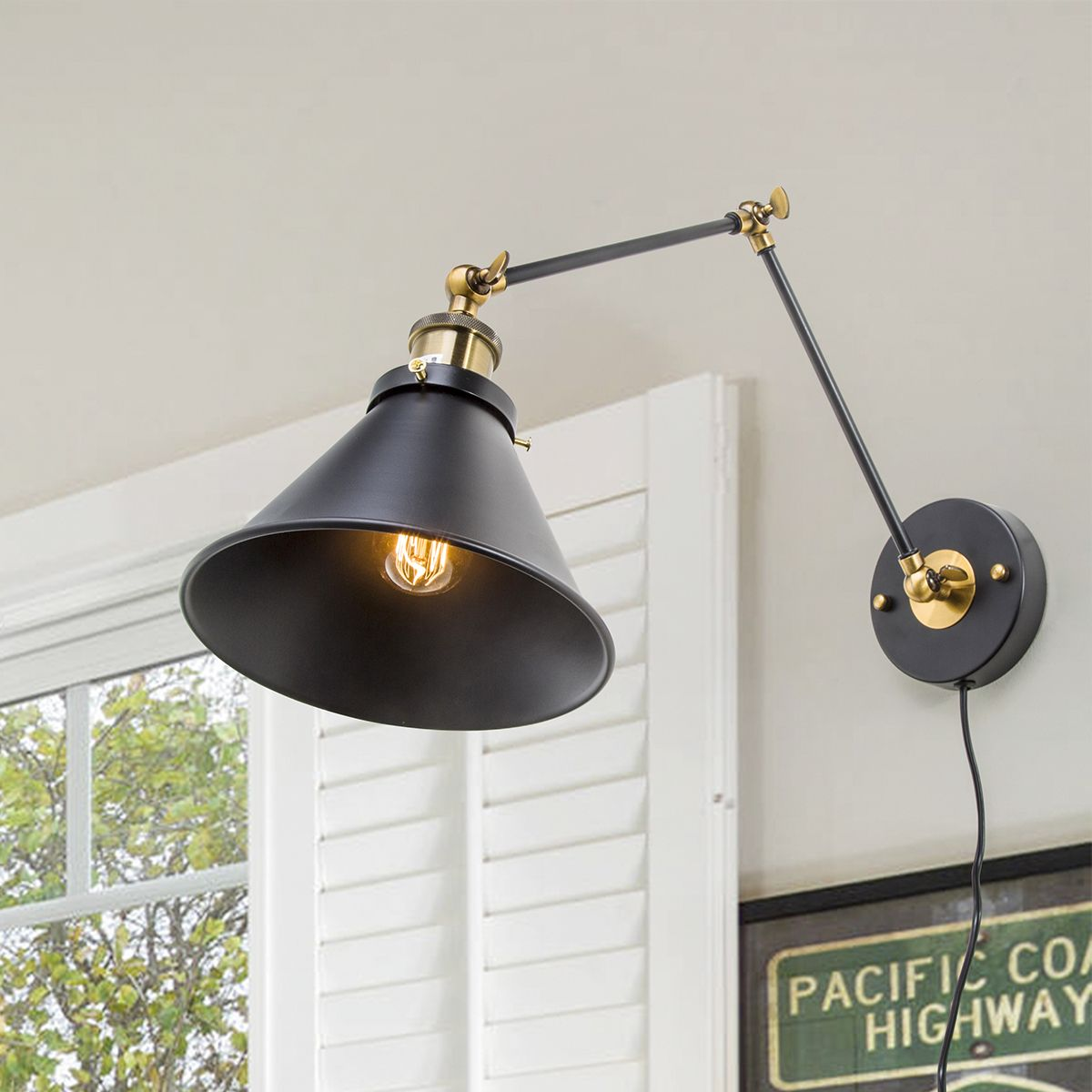 plug in industrial lighting. LNC BLACK WALL LAMP ADJUSTABLE SCONCES PLUG-IN LIGHTING This Industrial-inspired Swing Arm Wall Lamp Is An Attractive Task And Reading Plug In Industrial Lighting A