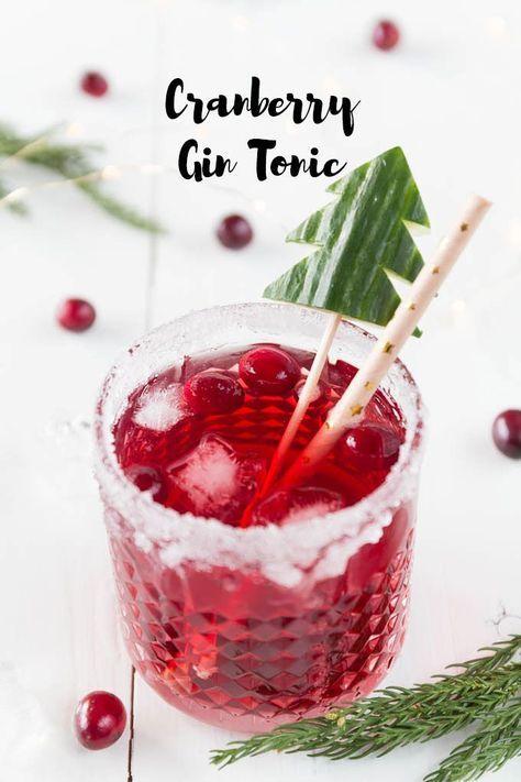 Weihnachtlicher Cranberry Gin Tonic - Aperitif zum Weihnachtsmenü #nonalcoholicbeverages