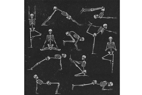 Set of skeleton poses yoga | Skeleton artwork, Skeleton ...