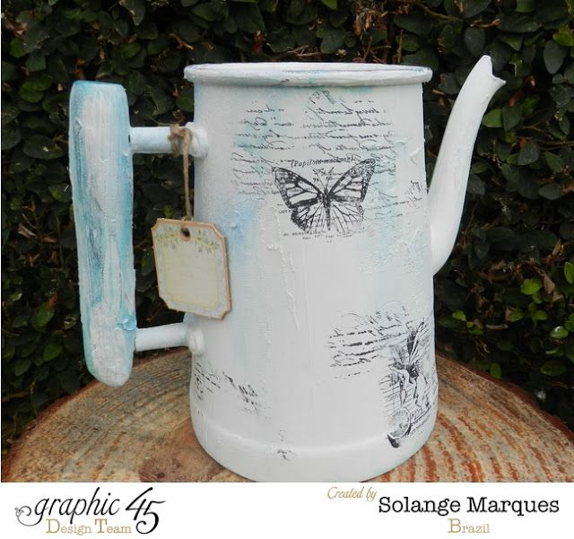 Solange Marques: Altered Bottles and Teapots-Graphic 45 stamps and chipboard tags.