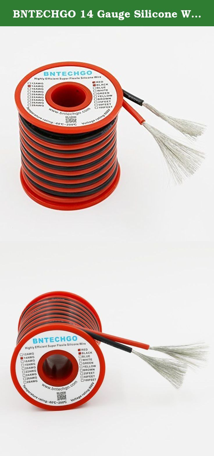 BNTECHGO 14 Gauge Silicone Wire 40 feet [20 ft Black And 20 ft Red ...
